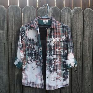 Upcycled distressed bleached flannel size 10/12 LG